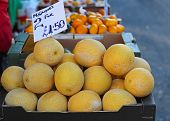 image of muskmelon  - Muskmelons in crate at farmers market stall - JPG