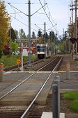 foto of portland oregon  - A light rail max train is approaching the Gresham station - JPG