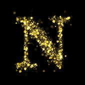 picture of glitz  - Sparkling Letter N on black background - JPG