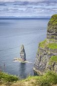 stock photo of cliffs moher  - An image of the famous Cliffs of Moher in Ireland - JPG