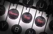foto of nurture  - Typewriter with special buttons nurture your best - JPG