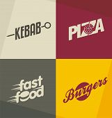 foto of gourmet food  - Set of unique fast food logo design concepts and ideas - JPG