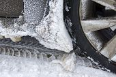 image of slippery-roads  - Winter tire on snow - JPG