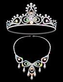 foto of tiara  - Illustration of shiny tiara and necklace with gemstones - JPG