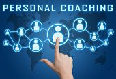 picture of self assessment  - Personal Coaching concept with hand pressing social icons on blue world map background - JPG