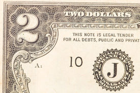 pic of two dollar bill  - Close up of american two dollar bill - JPG
