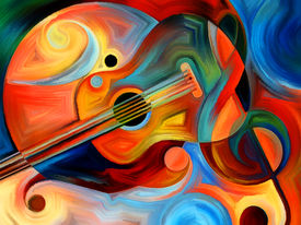 foto of expressionism  - Abstract painting on the subject of music and rhythm - JPG