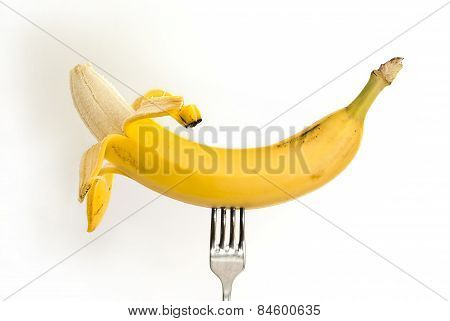 Banana On A Metal Fork