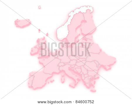Map of Europe and Norway. 3d