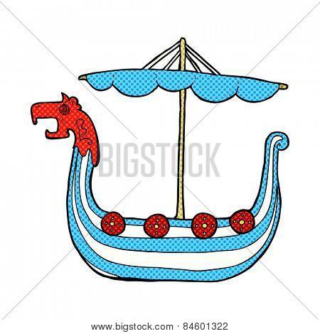 retro comic book style cartoon viking ship