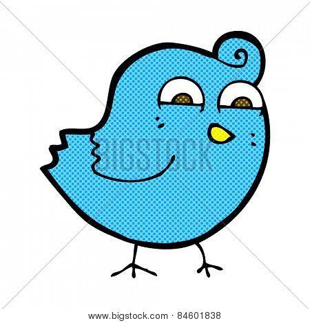 retro comic book style cartoon funny bird