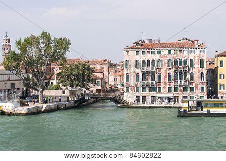 Quay And Bridge Over Channel In Venice