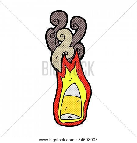 retro comic book style cartoon flaming bullet