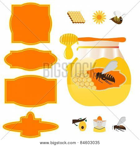 honey jar and labels