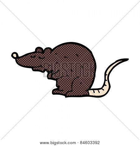 retro comic book style cartoon black rat