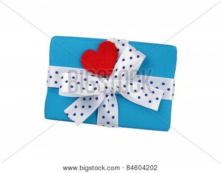 gift box with ribbon and heart