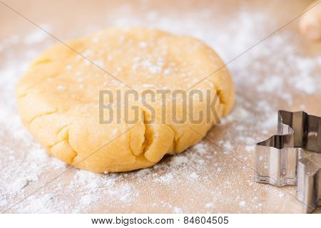 Shortcrust Pastry Dough, Unrolled And Unbaked On A Floured Surfa