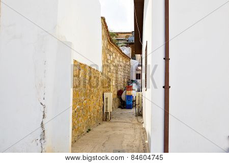 Narrow streets in Nicosia, Cyprus. Traditional architecture.