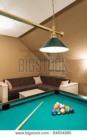 Billiard Table In Luxury Living Room