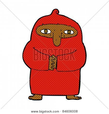 retro comic book style cartoon monk in robe