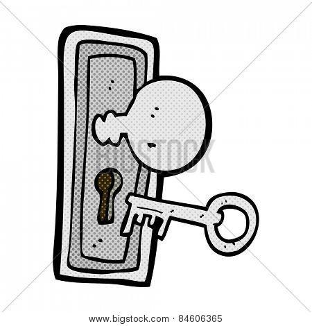 retro comic book style cartoon key and keyhole