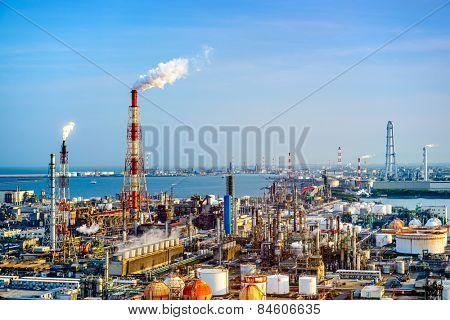 Factories in Yokkaichi, Japan.
