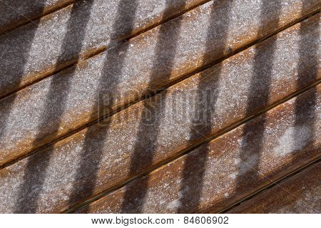 Ice Coated Deck Boards