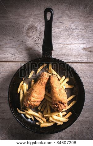 French Fries And Chicken Legs
