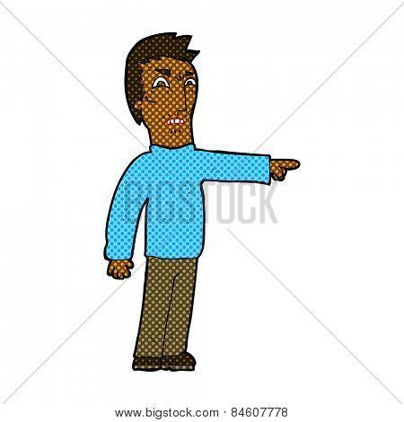 retro comic book style cartoon angry man pointing
