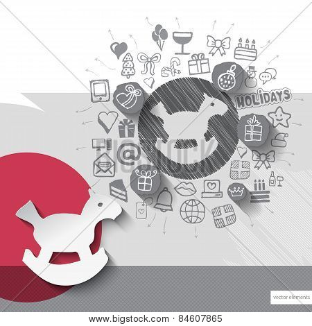 Hand drawn horse toy icons with icons background
