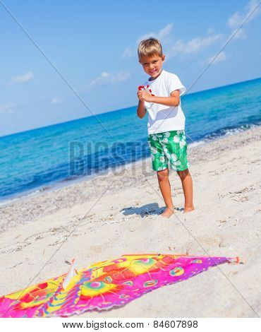 Boy with kite.