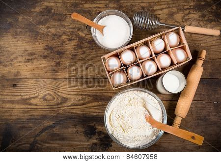 baking ingredients on brown table