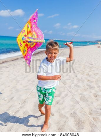Boy with kite.