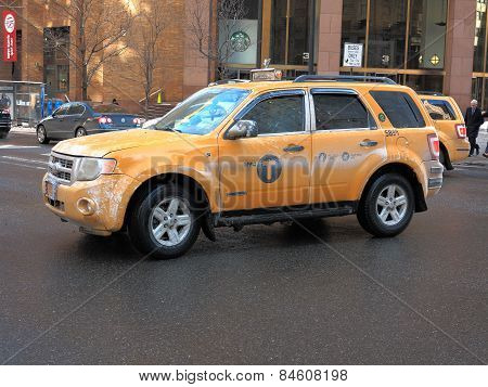 New York City Taxi In Winter