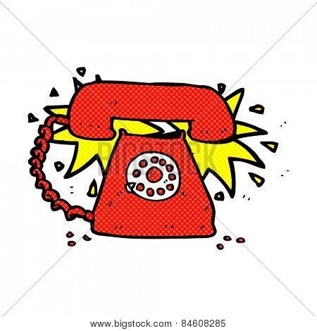 retro comic book style cartoon ringing telephone