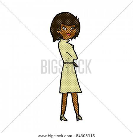retro comic book style cartoon woman in trench coat