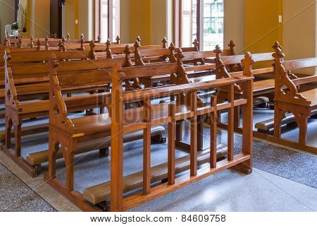 Wood Bench Of Catholic Church, People Can Pray For God Jesus