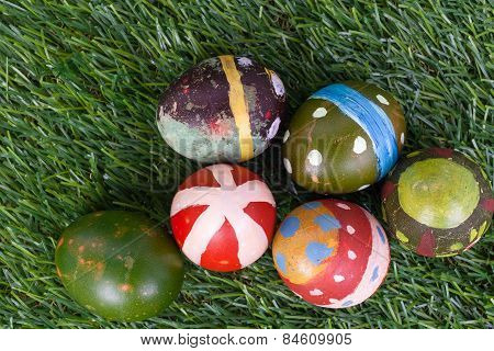 Happy Easter Eggs Group On Grass,can Use As Background For God Festival, Top View