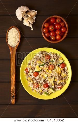 Rice Dish with Mincemeat and Vegetables