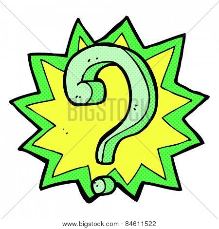 retro comic book style cartoon question mark
