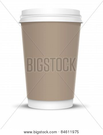 Coffee Cup with brown label