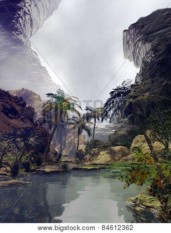 3D illustration of tropical landscape lake