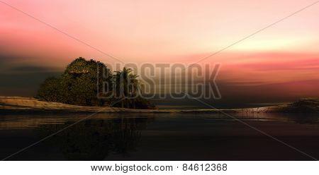 3D illustration of sunset landscape