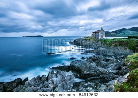 Mundaka Cathedral by the sea on the Basque coast of Spain