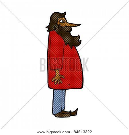 retro comic book style cartoon bearded old man