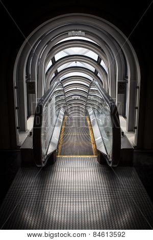 An escalator tunnel looks like a time machine
