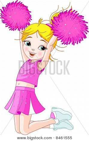 Cute Cheerleading Girl Jumping In Air