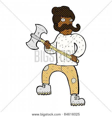 retro comic book style cartoon man with axe