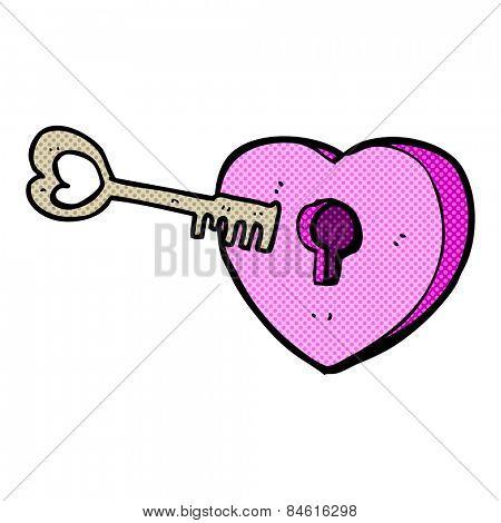 retro comic book style cartoon heart with keyhole