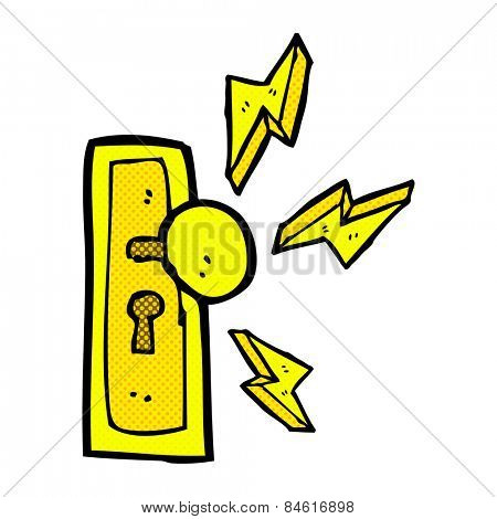 retro comic book style cartoon door knob